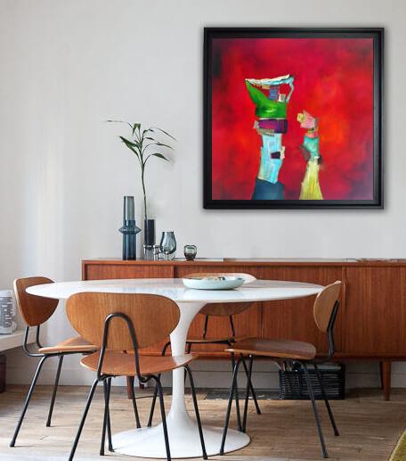 marche de l'art une oeuvre abstraite accroche au mur