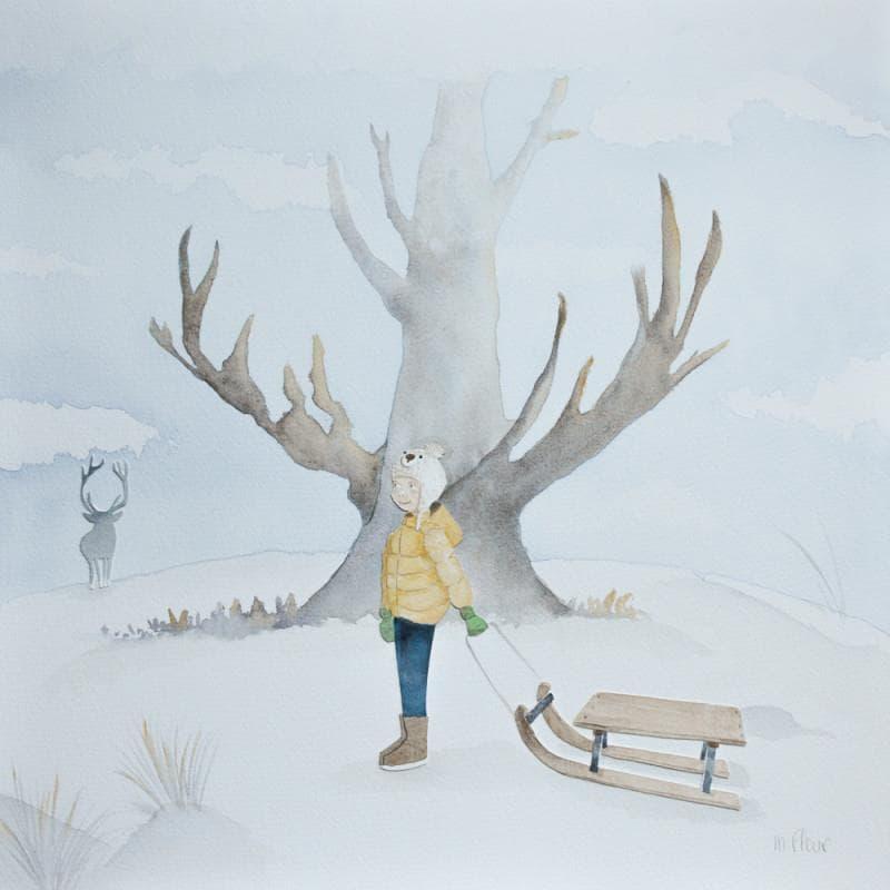 une oeuvre white art représentant un enfant et sa luge dans un paysage enneigé