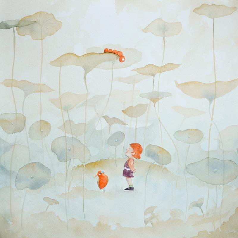 aquarelle et fleurs avec un enfant oeuvre d'art