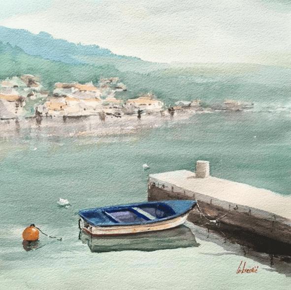old boat par thomir peinture de mer