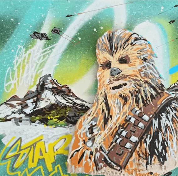 peinture street art de Chewie is back Pappay