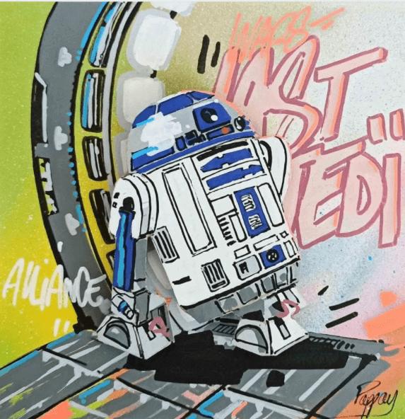 peinture street  White robot Pappay